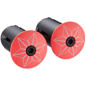 Supacaz Star Plugz Handlebar End Caps coral-red powder-coated